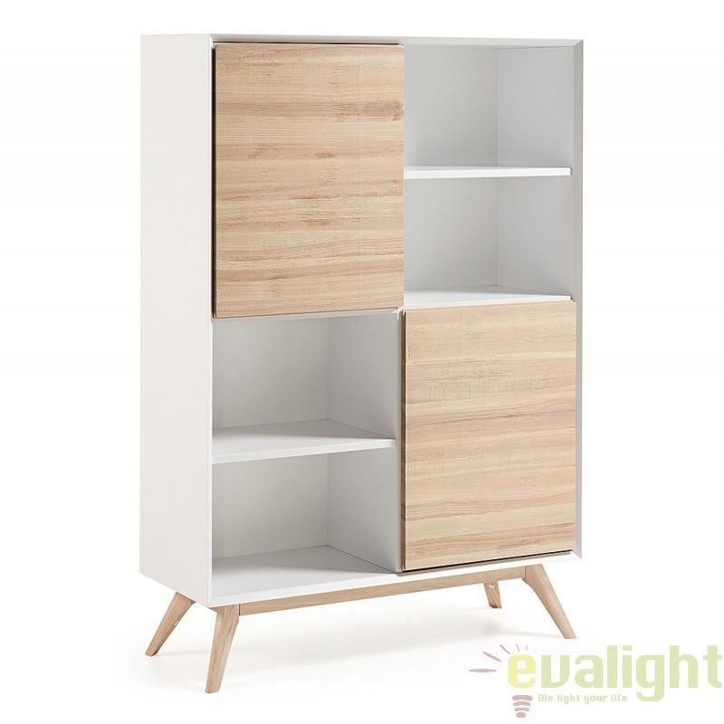 Biblioteca cu rafturi din furnir frasin, picioare lemn solid QUATRE A819M50 JG, Vitrine - Rafturi,  a
