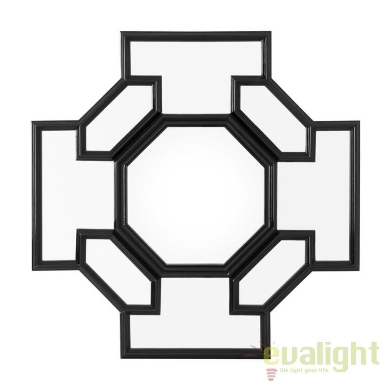 Oglinda design clasic cu rama din lemn Borromeo negru 108706 HZ, Oglinzi decorative,  a