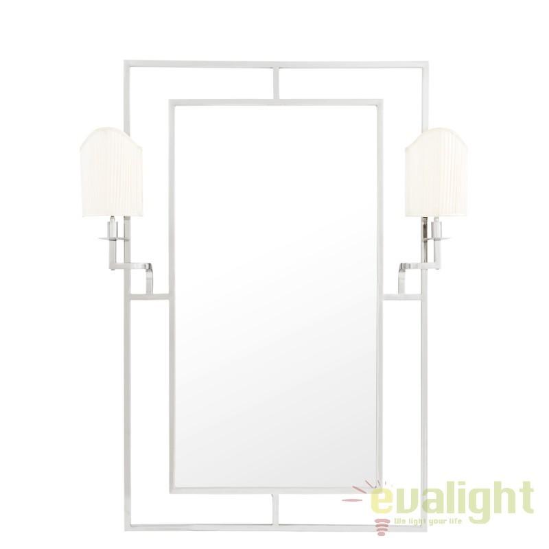 Oglinda cu iluminat decorativa LUX clasic Astaire argintiu/ alb 109312 HZ, Oglinzi pentru baie, Corpuri de iluminat, lustre, aplice, veioze, lampadare, plafoniere. Mobilier si decoratiuni, oglinzi, scaune, fotolii. Oferte speciale iluminat interior si exterior. Livram in toata tara.  a