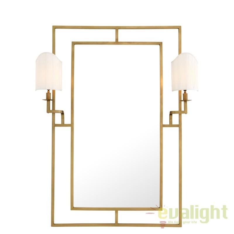 Oglinda cu iluminat decorativa LUX clasic Astaire auriu/ alb 109313 HZ, Oglinzi pentru baie, Corpuri de iluminat, lustre, aplice, veioze, lampadare, plafoniere. Mobilier si decoratiuni, oglinzi, scaune, fotolii. Oferte speciale iluminat interior si exterior. Livram in toata tara.  a