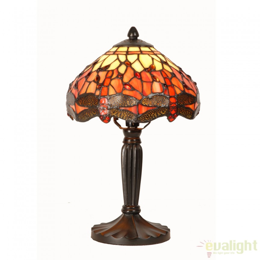 Veioza / Lampa cu sticla tiffany diam. 20cm CARLA 939420 SU, Magazin, Corpuri de iluminat, lustre, aplice, veioze, lampadare, plafoniere. Mobilier si decoratiuni, oglinzi, scaune, fotolii. Oferte speciale iluminat interior si exterior. Livram in toata tara.  a