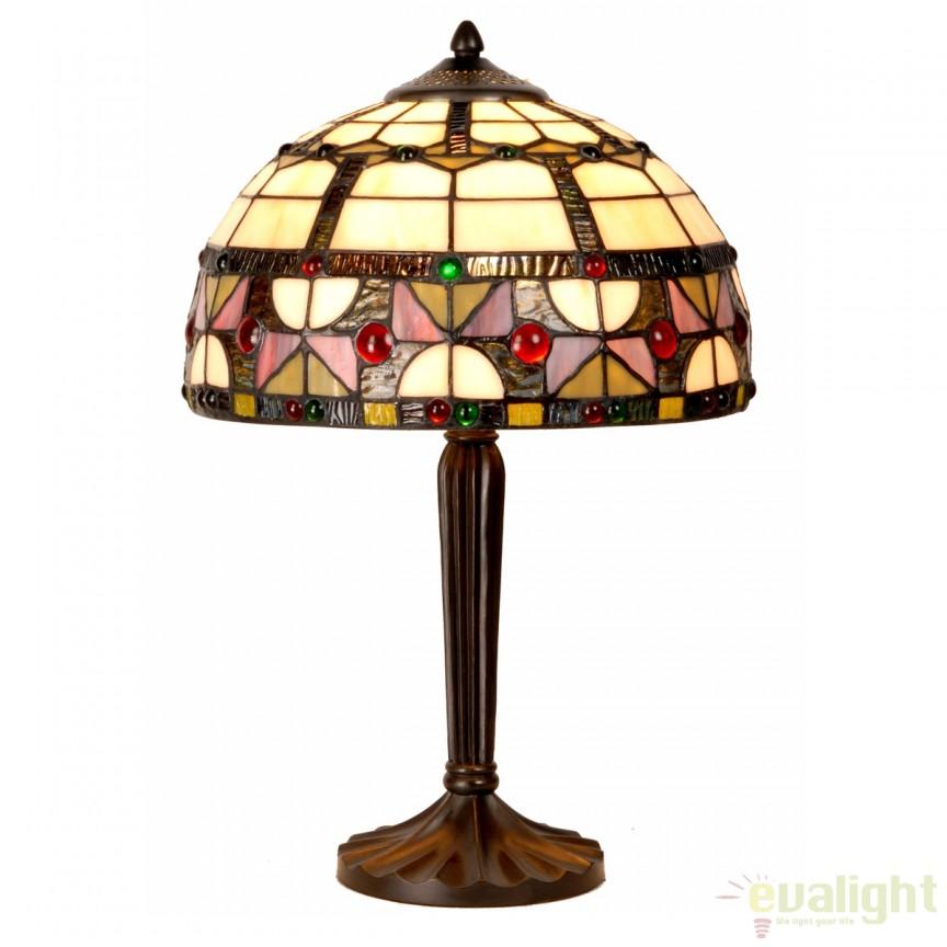 Veioza / Lampa cu sticla tiffany diam. 30cm VIDRIERA 4556 SU,  a