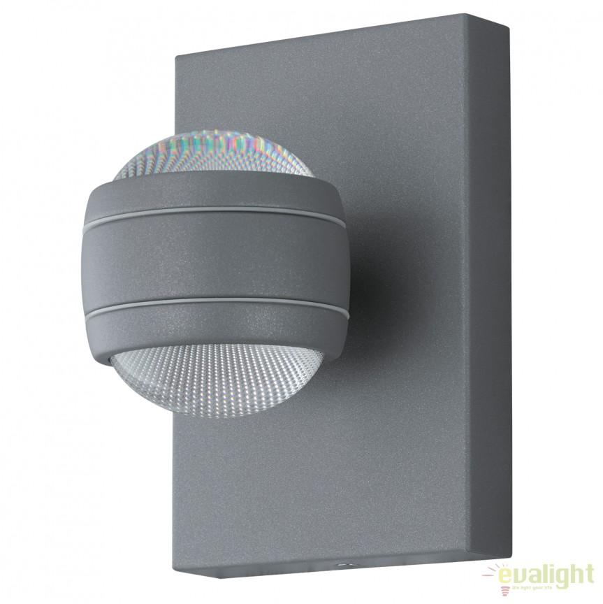 Aplica de perete exterior H-19,5cm, protectie IP44, LED SESIMBA argintiu 94796 EL, Magazin, Corpuri de iluminat, lustre, aplice, veioze, lampadare, plafoniere. Mobilier si decoratiuni, oglinzi, scaune, fotolii. Oferte speciale iluminat interior si exterior. Livram in toata tara.  a