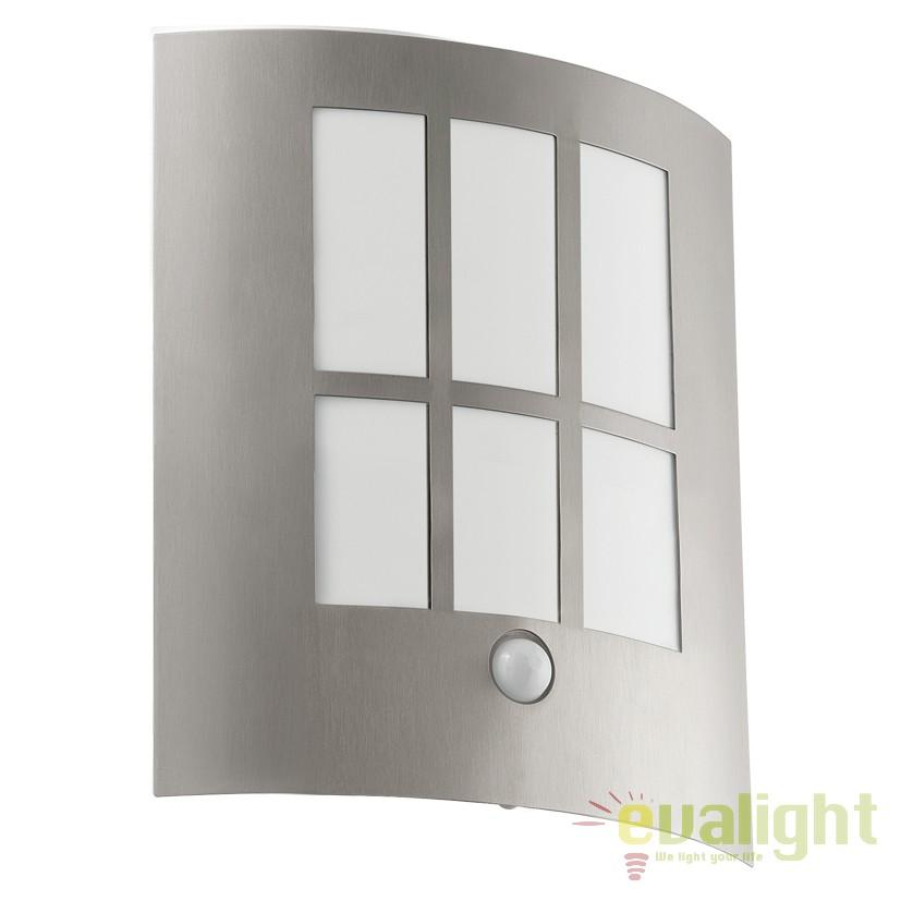Aplica de perete exterior cu senzor H-26cm, protectie IP44, LED CITY LED argintiu 94213 EL, Iluminat cu senzor de miscare, Corpuri de iluminat, lustre, aplice, veioze, lampadare, plafoniere. Mobilier si decoratiuni, oglinzi, scaune, fotolii. Oferte speciale iluminat interior si exterior. Livram in toata tara.  a