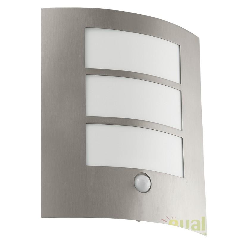 Aplica de perete exterior cu senzor H-26cm, protectie IP44  CITY argintiu 88142 EL, Iluminat cu senzor de miscare, Corpuri de iluminat, lustre, aplice, veioze, lampadare, plafoniere. Mobilier si decoratiuni, oglinzi, scaune, fotolii. Oferte speciale iluminat interior si exterior. Livram in toata tara.  a