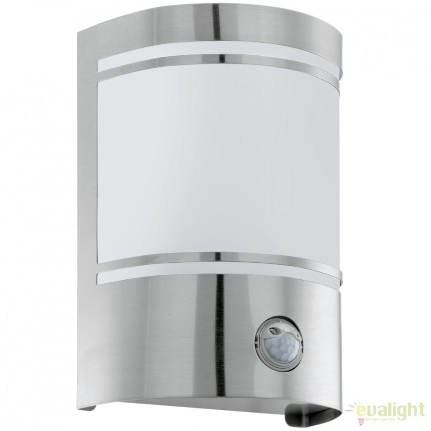 Aplica de perete exterior cu senzor H-19cm, protectie IP44 CERNO argintiu 30192 EL, Iluminat cu senzor de miscare, Corpuri de iluminat, lustre, aplice, veioze, lampadare, plafoniere. Mobilier si decoratiuni, oglinzi, scaune, fotolii. Oferte speciale iluminat interior si exterior. Livram in toata tara.  a