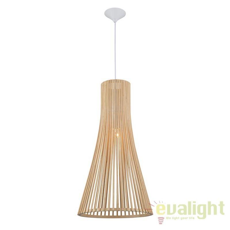 Lustra suspendata / Pendul rustic din lemn de bambus YANGON 187090 SU,  a