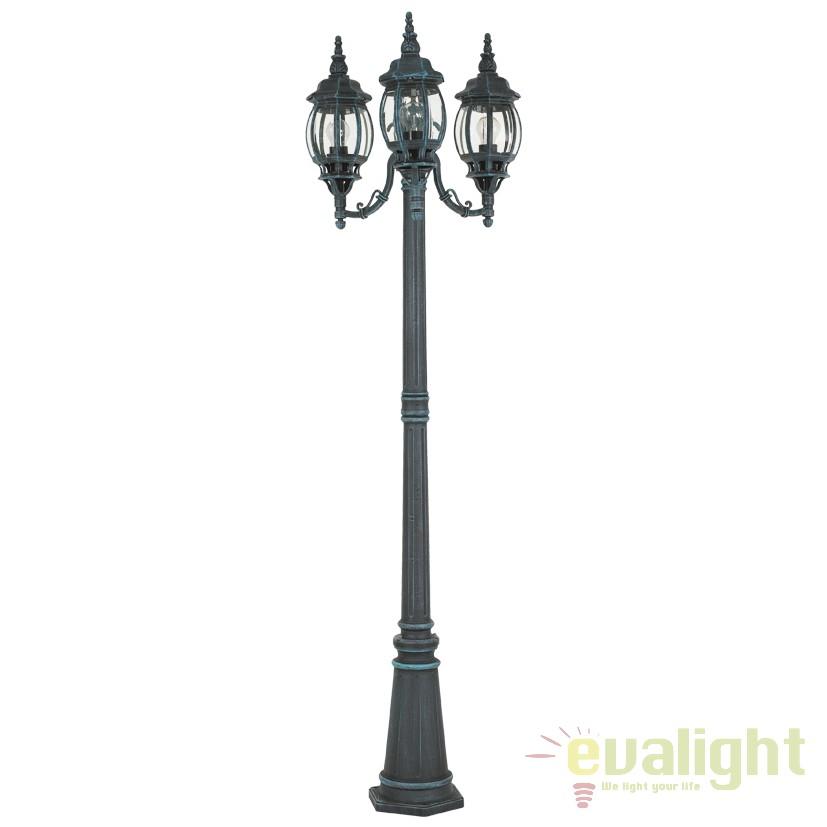 Stalp de exterior cu 3 brate, H-213cm, protectie IP23, OUTDOOR CLASSIC 4171 EL, Stalpi de iluminat exterior mari, Corpuri de iluminat, lustre, aplice, veioze, lampadare, plafoniere. Mobilier si decoratiuni, oglinzi, scaune, fotolii. Oferte speciale iluminat interior si exterior. Livram in toata tara.  a