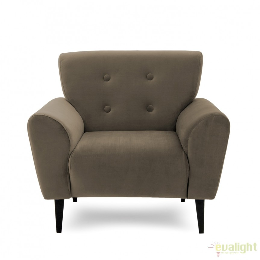 Fotoliu LUX elegant si confortabil cu tapiterie din catifea, Kiara 1 taupe, Magazin, Corpuri de iluminat, lustre, aplice, veioze, lampadare, plafoniere. Mobilier si decoratiuni, oglinzi, scaune, fotolii. Oferte speciale iluminat interior si exterior. Livram in toata tara.  a