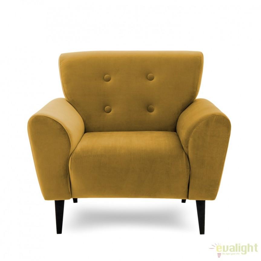 Fotoliu LUX elegant si confortabil cu tapiterie din catifea, Kiara 1 galben, Magazin, Corpuri de iluminat, lustre, aplice, veioze, lampadare, plafoniere. Mobilier si decoratiuni, oglinzi, scaune, fotolii. Oferte speciale iluminat interior si exterior. Livram in toata tara.  a