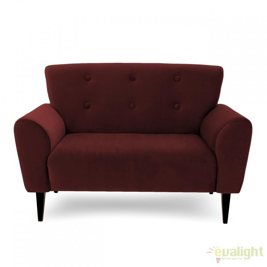 Canapea cu 2 locuri LUX eleganta si confortabila cu tapiterie din catifea, Kiara 2 visiniu, Magazin, Corpuri de iluminat, lustre, aplice, veioze, lampadare, plafoniere. Mobilier si decoratiuni, oglinzi, scaune, fotolii. Oferte speciale iluminat interior si exterior. Livram in toata tara.  a
