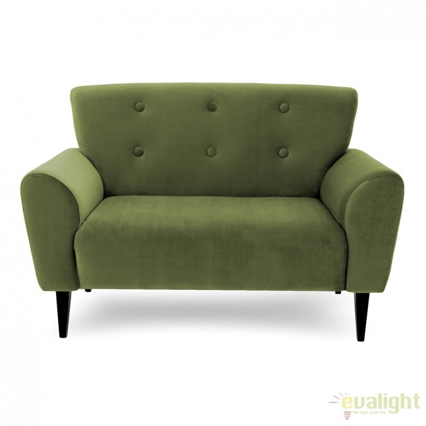 Canapea cu 2 locuri LUX eleganta si confortabila cu tapiterie din catifea, Kiara 2 verde, Magazin, Corpuri de iluminat, lustre, aplice, veioze, lampadare, plafoniere. Mobilier si decoratiuni, oglinzi, scaune, fotolii. Oferte speciale iluminat interior si exterior. Livram in toata tara.  a