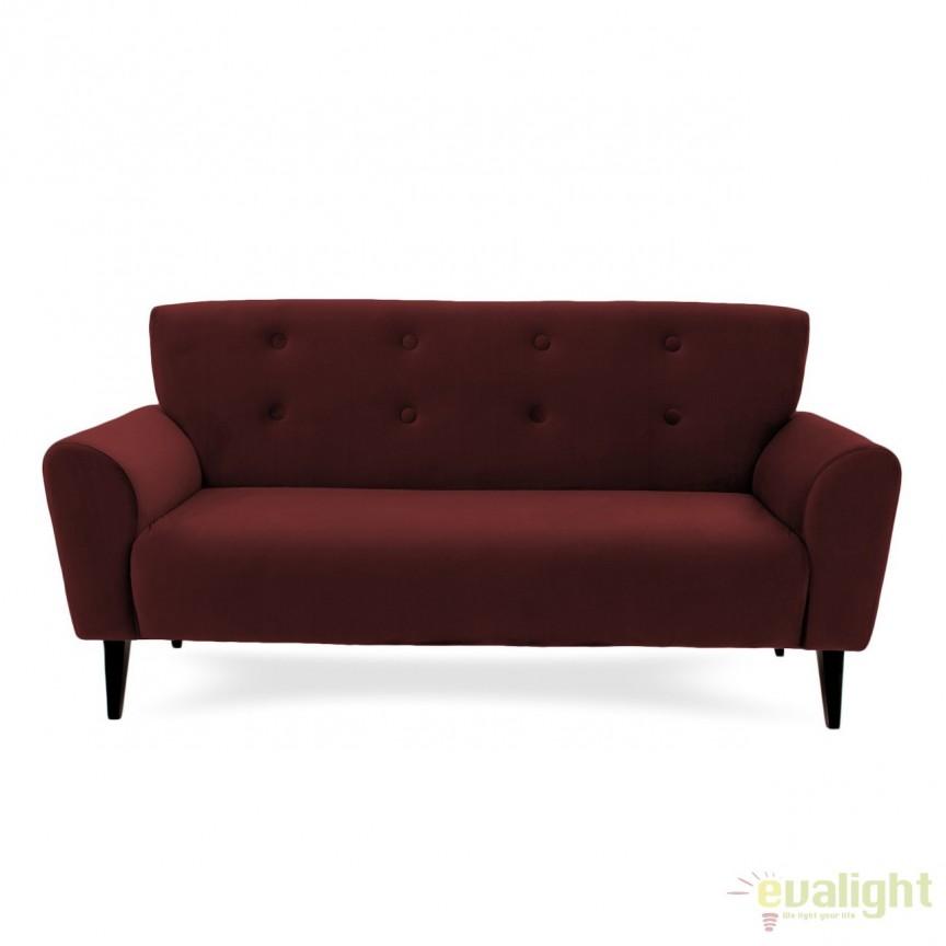 Canapea cu 3 locuri LUX eleganta si confortabila cu tapiterie din catifea, Kiara 3 visiniu, Magazin, Corpuri de iluminat, lustre, aplice, veioze, lampadare, plafoniere. Mobilier si decoratiuni, oglinzi, scaune, fotolii. Oferte speciale iluminat interior si exterior. Livram in toata tara.  a