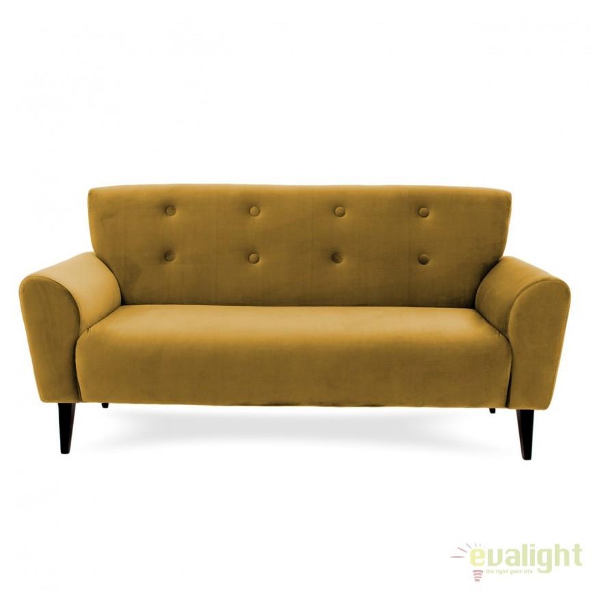 Canapea cu 3 locuri LUX eleganta si confortabila cu tapiterie din catifea, Kiara 3 galben, Magazin, Corpuri de iluminat, lustre, aplice, veioze, lampadare, plafoniere. Mobilier si decoratiuni, oglinzi, scaune, fotolii. Oferte speciale iluminat interior si exterior. Livram in toata tara.  a