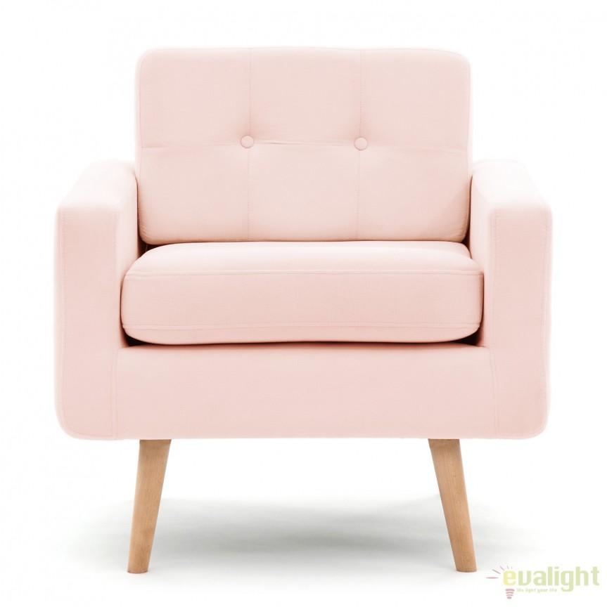 Fotoliu modern si elegant cu design old-fashion Ina 1 roz, Magazin, Corpuri de iluminat, lustre, aplice, veioze, lampadare, plafoniere. Mobilier si decoratiuni, oglinzi, scaune, fotolii. Oferte speciale iluminat interior si exterior. Livram in toata tara.  a
