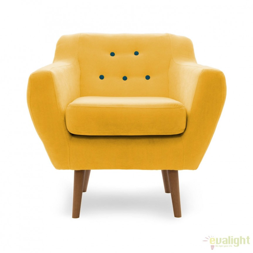 Fotoliu LUX elegant si confortabil cu picioare stejar si tapiterie galbena, Kelly 1 stejar/ galben, Magazin,  a