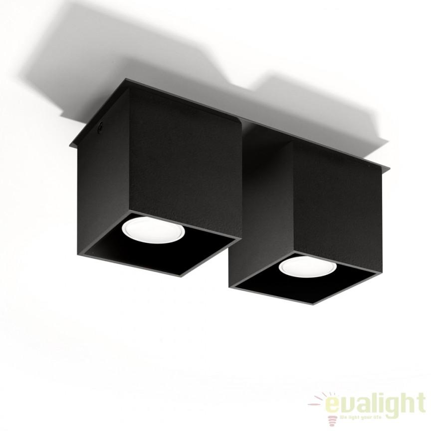 Plafoniera / Spot aplicat design modern QUAD II negru SL.0063, Spoturi incastrate, aplicate - tavan / perete, Corpuri de iluminat, lustre, aplice a