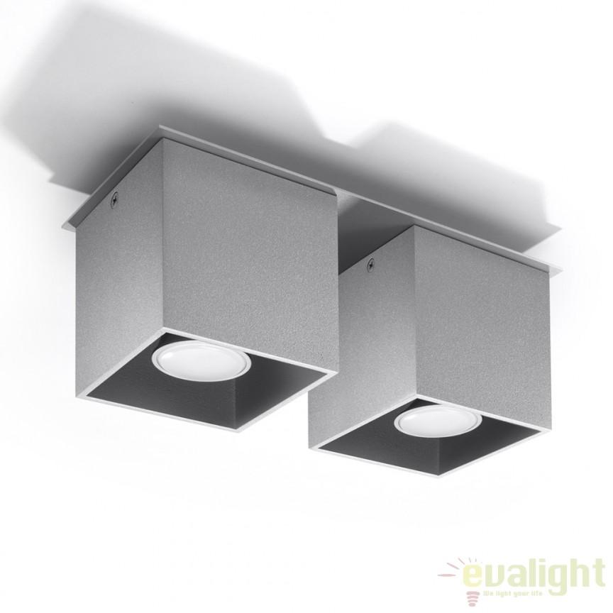 Plafoniera / Spot aplicat design modern QUAD II gri SL.0064, Spoturi incastrate, aplicate - tavan / perete, Corpuri de iluminat, lustre, aplice a