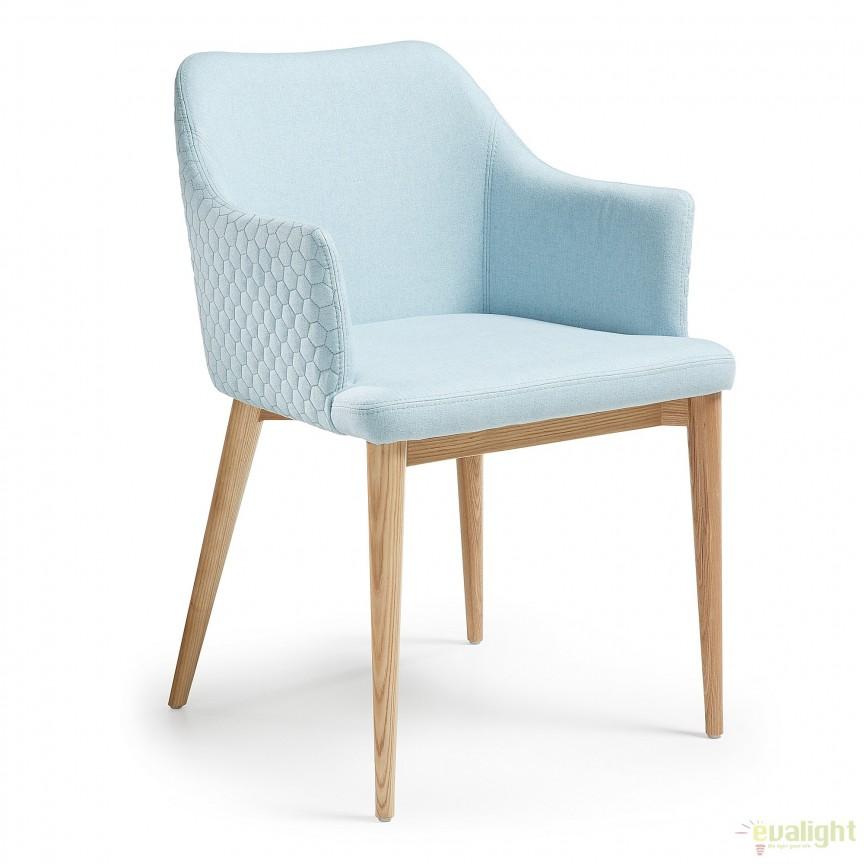 Scaun modern cu brate, tapiterie din tesatura si picioare din lemn, DANAI albastru deschis CC0077JQ27 JG, Corpuri de iluminat, lustre, aplice
