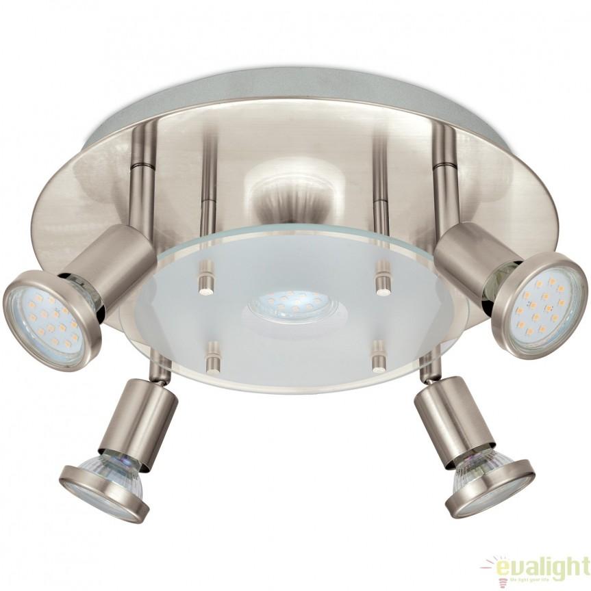 Plafoniera cu 5 spoturi GU10-LED, diam.29cm, nickel mat, PAWEDO 93083 EL, Magazin,  a