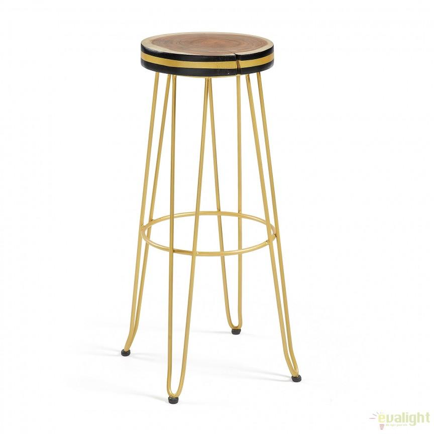 Scaun de bar cu picioare metalice si sezut din lemn FARLEY auriu CC0045R83 JG, Mobila si Decoratiuni,  a
