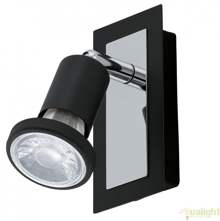 Aplica de perete GU10-LED, negru/crom, SARRIA 94963 EL, Aplice de perete LED, Corpuri de iluminat, lustre, aplice, veioze, lampadare, plafoniere. Mobilier si decoratiuni, oglinzi, scaune, fotolii. Oferte speciale iluminat interior si exterior. Livram in toata tara.  a