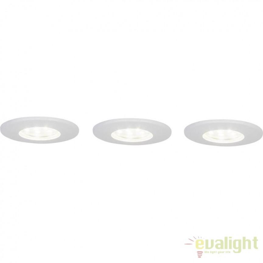 Set de 3 spoturi LED cu protectie IP44 Taniel alb G94667/05 BL, Spoturi incastrate, aplicate - tavan / perete, Corpuri de iluminat, lustre, aplice, veioze, lampadare, plafoniere. Mobilier si decoratiuni, oglinzi, scaune, fotolii. Oferte speciale iluminat interior si exterior. Livram in toata tara.  a