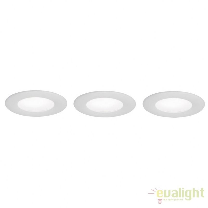 Set de 3 spoturi LED cu protectie IP44 si telecomanda Taniel alb G94668/05 BL, Spoturi incastrate, aplicate - tavan / perete, Corpuri de iluminat, lustre, aplice, veioze, lampadare, plafoniere. Mobilier si decoratiuni, oglinzi, scaune, fotolii. Oferte speciale iluminat interior si exterior. Livram in toata tara.  a