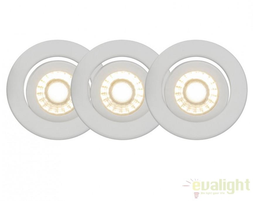 Set de 3 spoturi LED directionabile Franca alb G94673/05 BL, Spoturi LED incastrate, aplicate, Corpuri de iluminat, lustre, aplice, veioze, lampadare, plafoniere. Mobilier si decoratiuni, oglinzi, scaune, fotolii. Oferte speciale iluminat interior si exterior. Livram in toata tara.  a