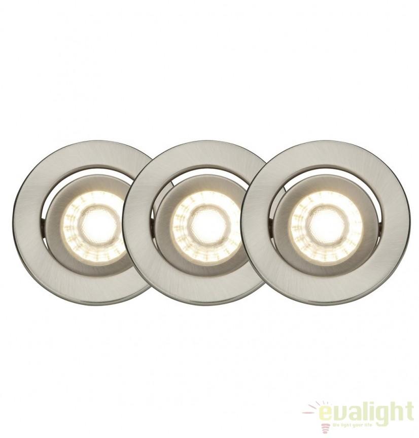 Set de 3 spoturi LED directionabile Franca nickel satin G94673/13 BL, Spoturi incastrate, aplicate - tavan / perete, Corpuri de iluminat, lustre, aplice, veioze, lampadare, plafoniere. Mobilier si decoratiuni, oglinzi, scaune, fotolii. Oferte speciale iluminat interior si exterior. Livram in toata tara.  a