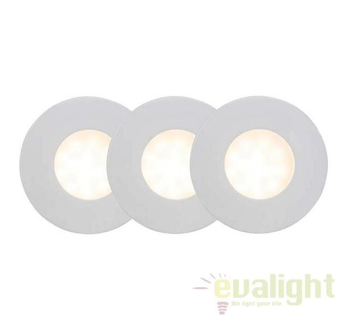 Set de 3 spoturi incastrabile cu protectie umiditate IP44 Darcey 94672/05 BL, Spoturi incastrate, aplicate - tavan / perete, Corpuri de iluminat, lustre, aplice, veioze, lampadare, plafoniere. Mobilier si decoratiuni, oglinzi, scaune, fotolii. Oferte speciale iluminat interior si exterior. Livram in toata tara.  a