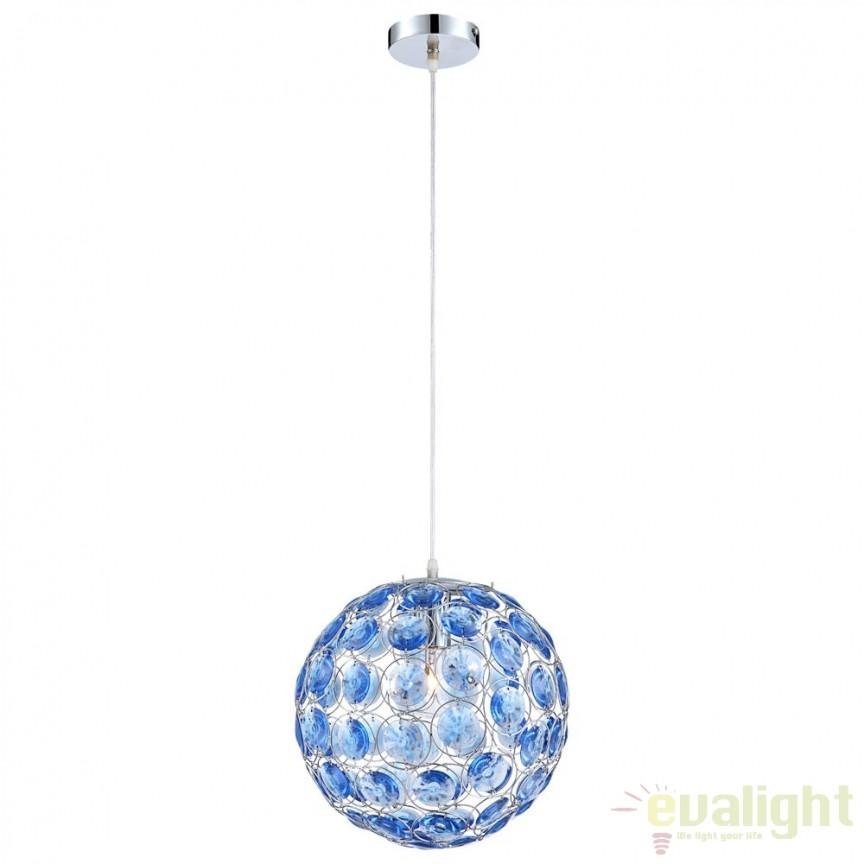 Pendul elegant cristal blue acrylic diam. 30cm Talida 16041 GL , Outlet, Corpuri de iluminat, lustre, aplice, veioze, lampadare, plafoniere. Mobilier si decoratiuni, oglinzi, scaune, fotolii. Oferte speciale iluminat interior si exterior. Livram in toata tara.  a