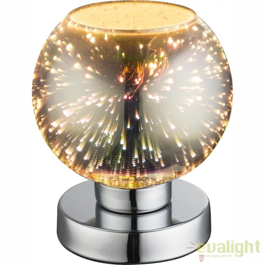 Veioza moderna sticla efect 3D KOBY crom 15845T GL, PROMOTII, Corpuri de iluminat, lustre, aplice, veioze, lampadare, plafoniere. Mobilier si decoratiuni, oglinzi, scaune, fotolii. Oferte speciale iluminat interior si exterior. Livram in toata tara.  a