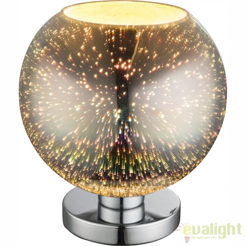 Veioza moderna cu sticla efect 3D KOBY crom 15845T1 GL, PROMOTII, Corpuri de iluminat, lustre, aplice, veioze, lampadare, plafoniere. Mobilier si decoratiuni, oglinzi, scaune, fotolii. Oferte speciale iluminat interior si exterior. Livram in toata tara.  a