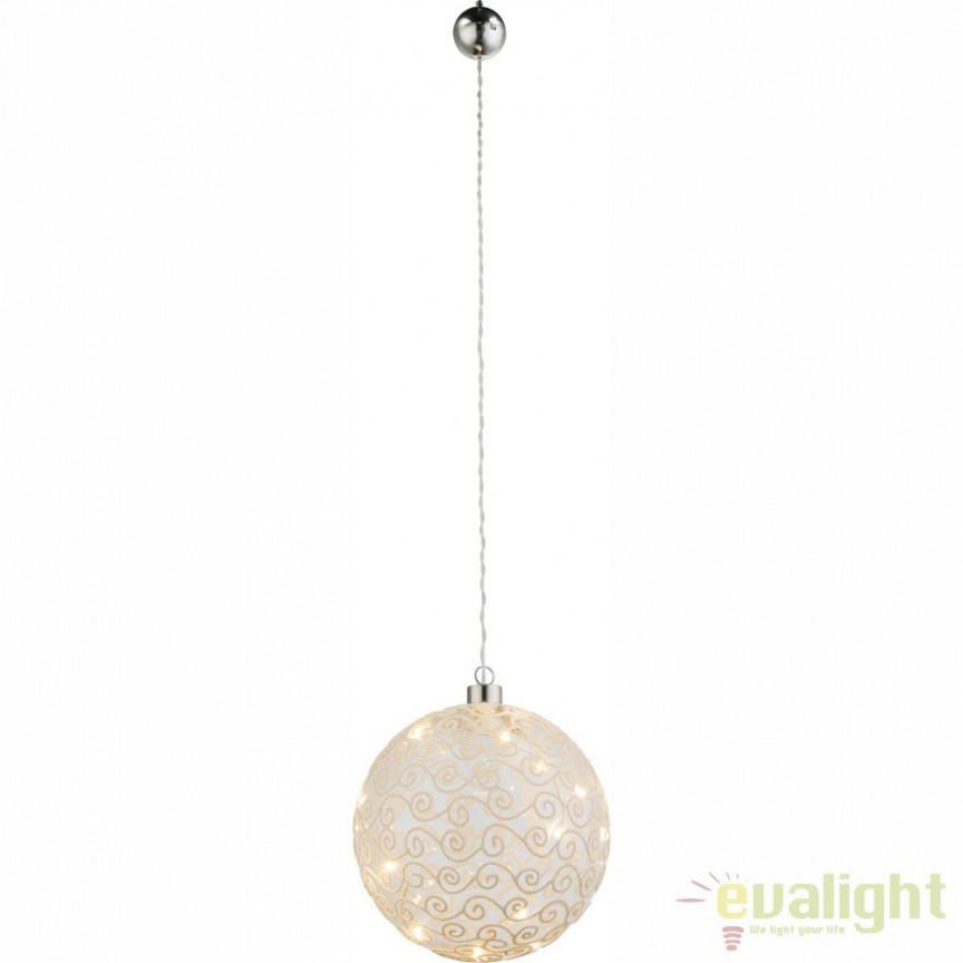 Glob de Craciun decorativ din sticla cu iluminat LED Weihnachtsengel 23232 GL, ILUMINAT FESTIV, Corpuri de iluminat, lustre, aplice a