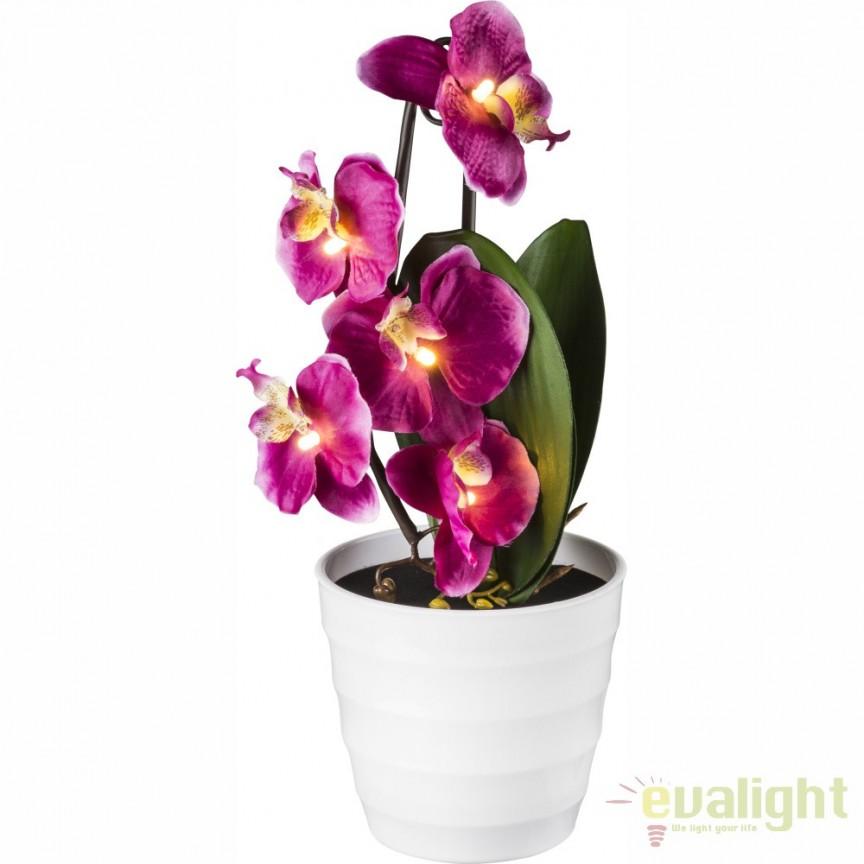 Ghiveci cu flori decorative, iluminat LED, ORPHELIA 28022P GL, Vaze, Ghivece decorative, Corpuri de iluminat, lustre, aplice, veioze, lampadare, plafoniere. Mobilier si decoratiuni, oglinzi, scaune, fotolii. Oferte speciale iluminat interior si exterior. Livram in toata tara.  a