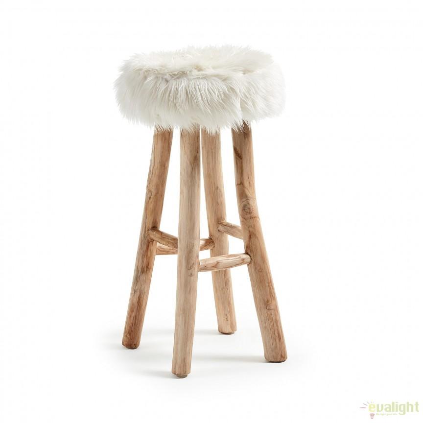 Scaun de bar design scandinav picioare din lemn de tec, blana sintetica NUVOLI CC0063J05 JG, Promotii si Reduceri⭐ Oferte ✅Corpuri de iluminat ✅Lustre ✅Mobila ✅Decoratiuni de interior si exterior.⭕Pret redus online➜Lichidari de stoc❗ Magazin ➽ www.evalight.ro. a