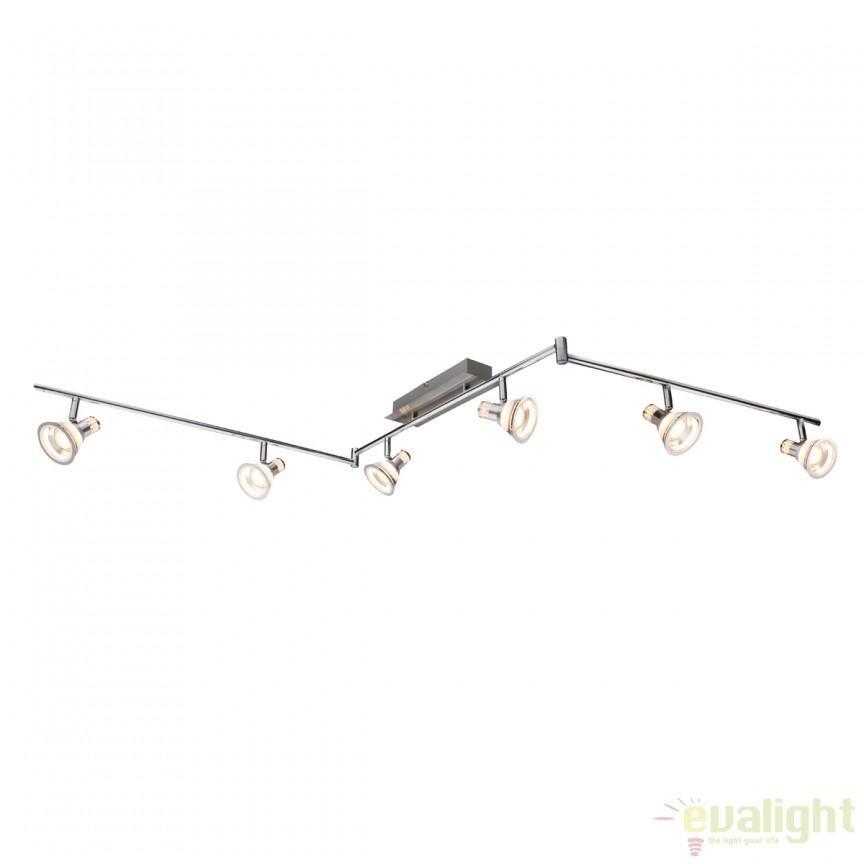 Plafoniera LED cu 6 spoturi reglabile Takiro 30 Watt 56956-6 GL , Spoturi - iluminat - cu 5 si 6 spoturi, Corpuri de iluminat, lustre, aplice, veioze, lampadare, plafoniere. Mobilier si decoratiuni, oglinzi, scaune, fotolii. Oferte speciale iluminat interior si exterior. Livram in toata tara.  a