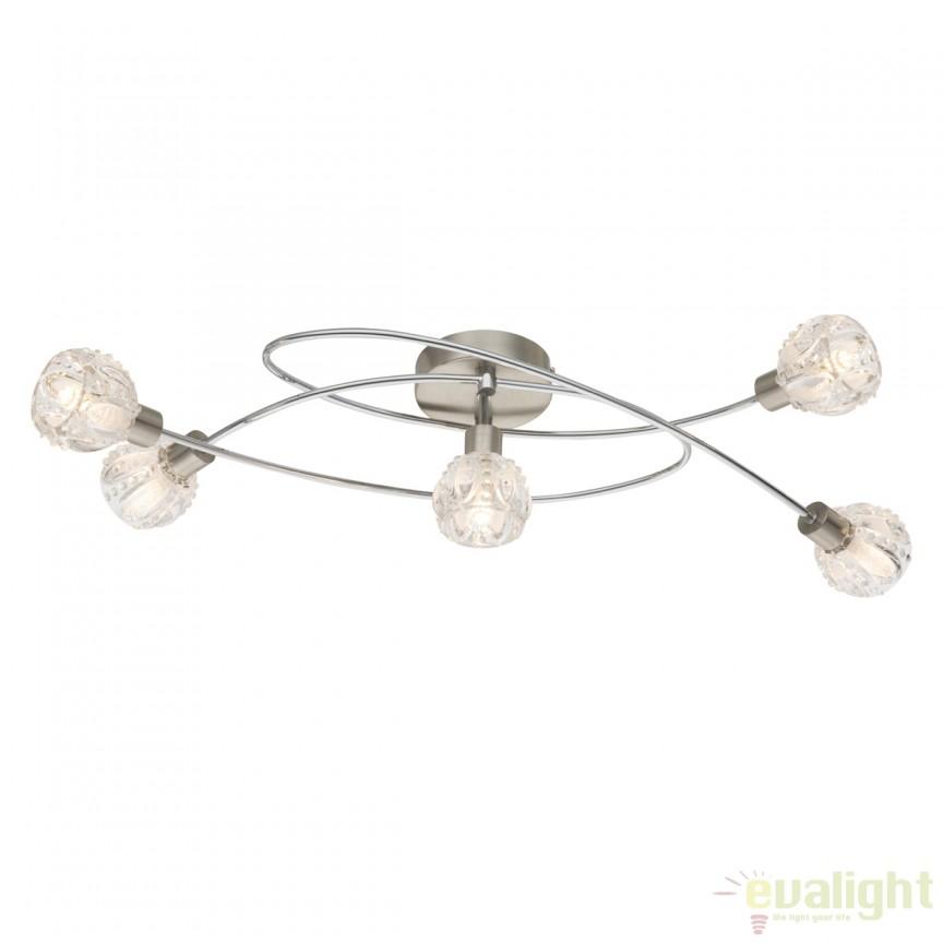 Lustra LED aplicata cu 5 spoturi ALOHA 56180-5 GL, Spoturi - iluminat - cu 5 si 6 spoturi, Corpuri de iluminat, lustre, aplice, veioze, lampadare, plafoniere. Mobilier si decoratiuni, oglinzi, scaune, fotolii. Oferte speciale iluminat interior si exterior. Livram in toata tara.  a