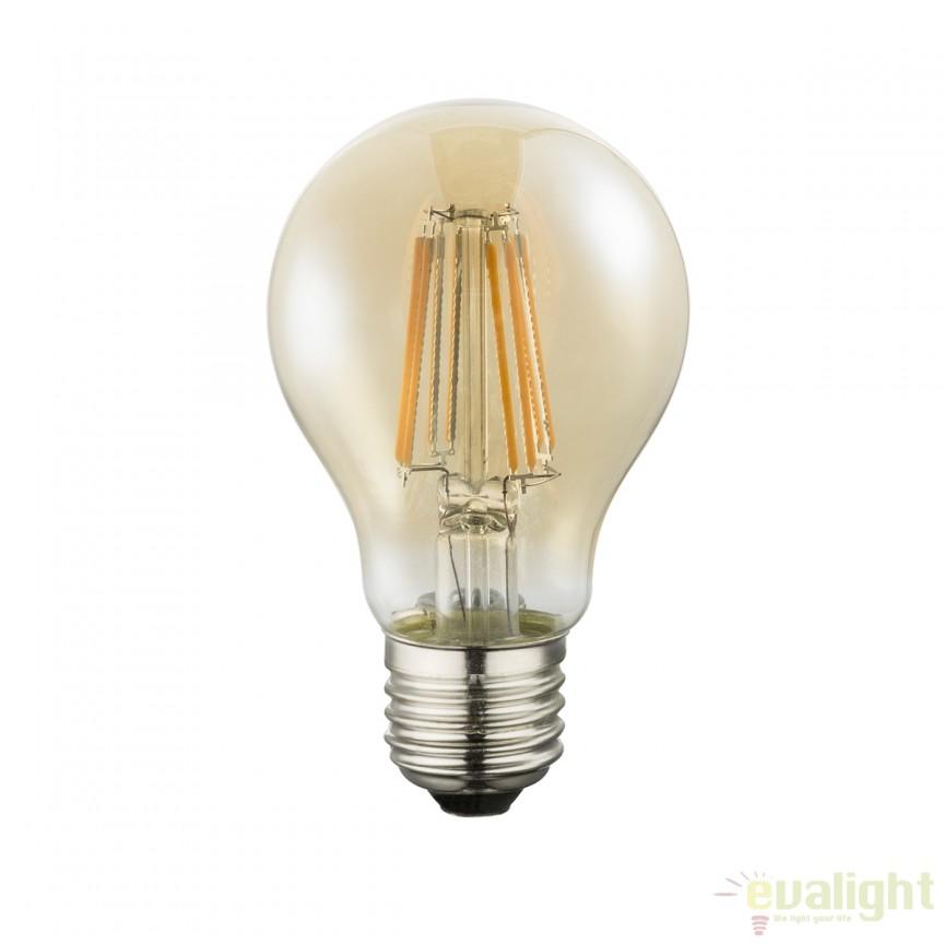 Bec LED E27 amber 7 Watt 630lm 2200K 10582A GL , Candelabre si Lustre moderne elegante⭐ modele clasice de lux pentru living, bucatarie si dormitor.✅ DeSiGn actual Top 2020!❤️Promotii lampi❗ ➽ www.evalight.ro. Oferte corpuri de iluminat suspendate pt camere de interior (înalte), suspensii (lungi) de tip lustre si candelabre, pendule decorative stil modern, clasic, rustic, baroc, scandinav, retro sau vintage, aplicate pe perete sau de tavan, cu cristale, abajur din material textil, lemn, metal, sticla, bec Edison sau LED, ieftine de calitate deosebita la cel mai bun pret. a