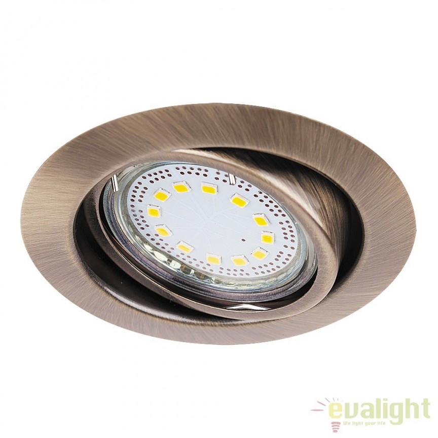 Set de 3 spoturi GU10 LED incastrabile, directionabile cu protectie IP40, bronz Lite 1051 RX, Spoturi LED incastrate, aplicate, Corpuri de iluminat, lustre, aplice a