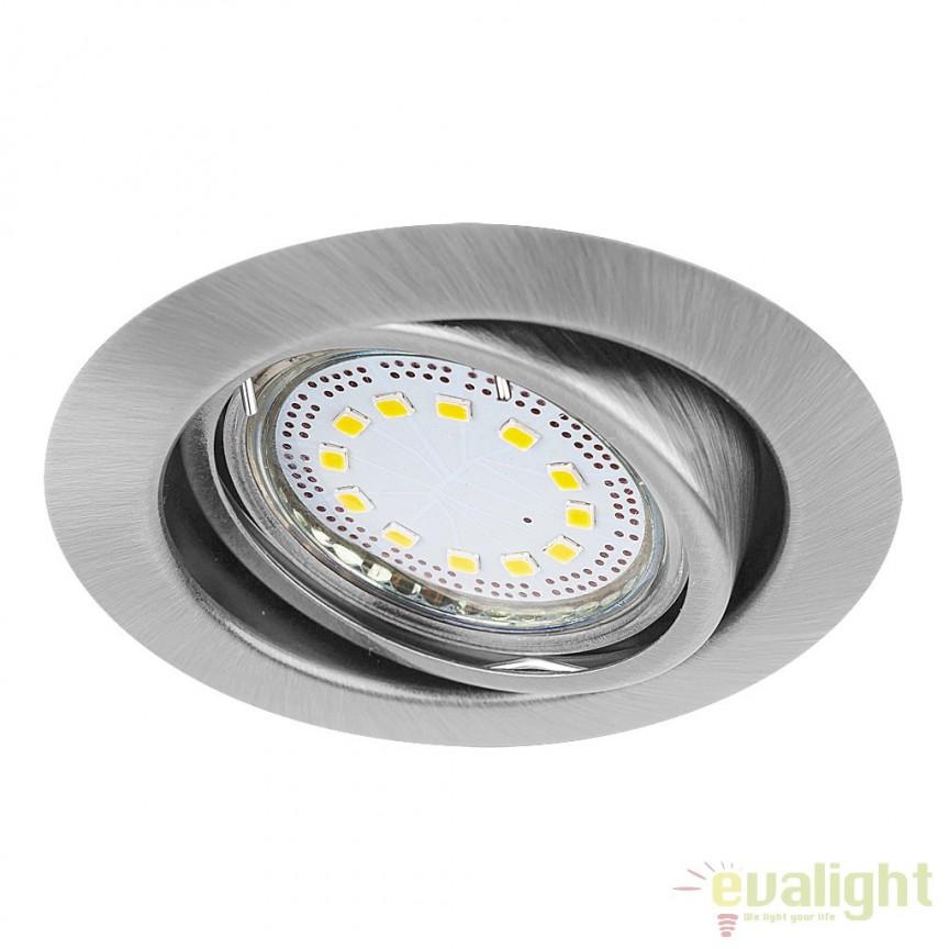 Set de 3 spoturi GU10 LED incastrabile, directionabile cu protectie IP40, crom satinat Lite 1166 RX, Spoturi LED incastrate, aplicate, Corpuri de iluminat, lustre, aplice a