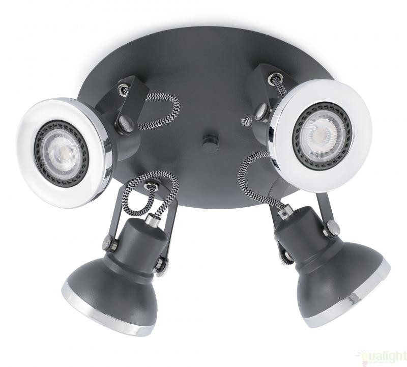 Plafonier cu 4 spoturi cu iluminat LED, gri inchis, RING 40560 , Cele mai vandute Corpuri de iluminat, lustre, aplice, veioze, lampadare, plafoniere. Mobilier si decoratiuni, oglinzi, scaune, fotolii. Oferte speciale iluminat interior si exterior. Livram in toata tara.  a