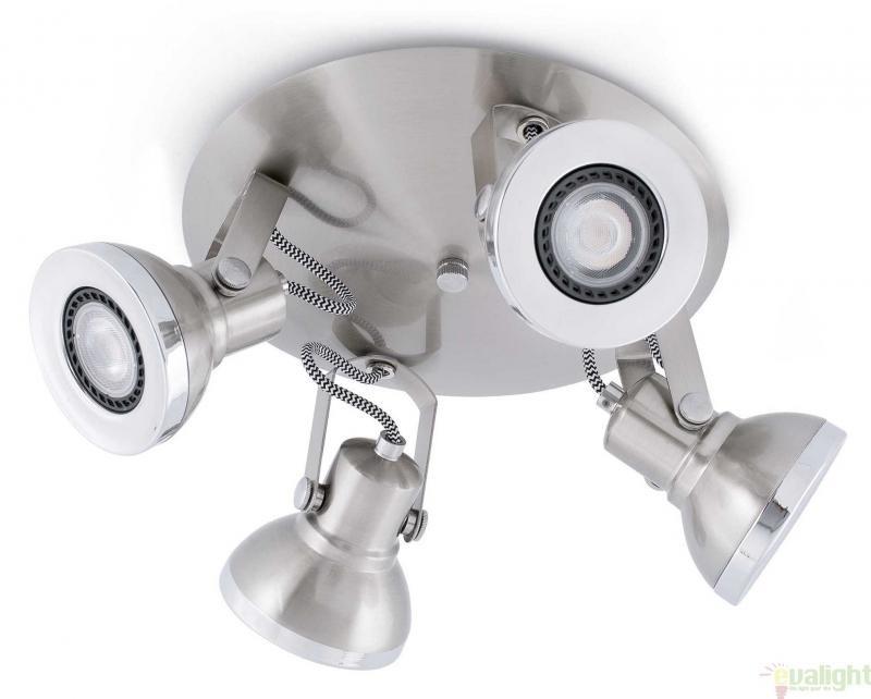 Plafonier cu 4 spoturi cu iluminat LED, nickel mat, RING 40561 , Cele mai vandute Corpuri de iluminat, lustre, aplice, veioze, lampadare, plafoniere. Mobilier si decoratiuni, oglinzi, scaune, fotolii. Oferte speciale iluminat interior si exterior. Livram in toata tara.  a
