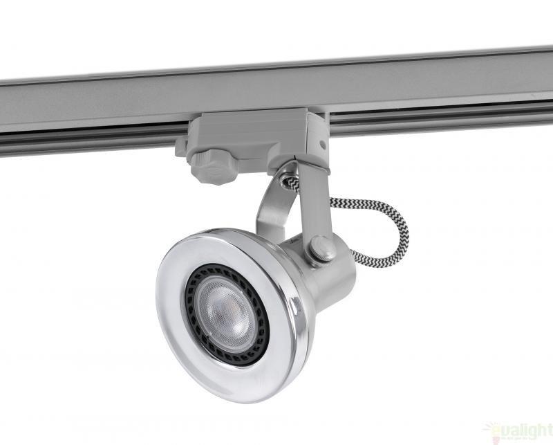 Spot LED directionabil pe sina, nikel mat, RING 40564 Faro Barcelona , Spoturi LED incastrate, aplicate, Corpuri de iluminat, lustre, aplice a