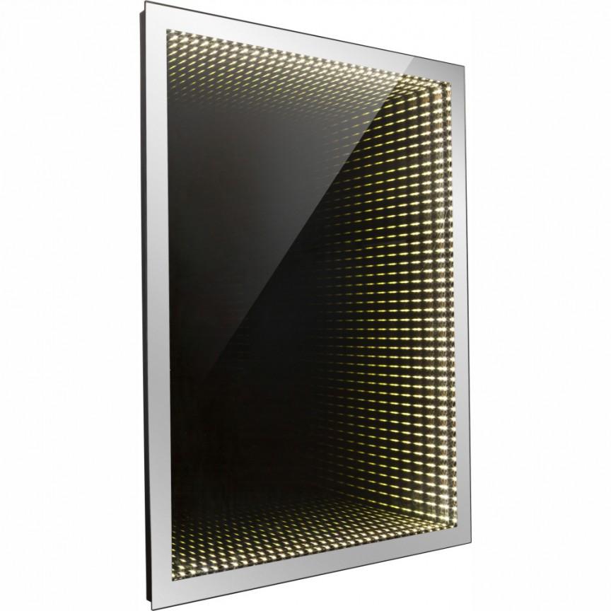 Oglinda cu iluminat LED efect tunel infinit si protectie IP44, 40x60cm Mara 84017-2 GL, Oglinzi pentru baie, Corpuri de iluminat, lustre, aplice a