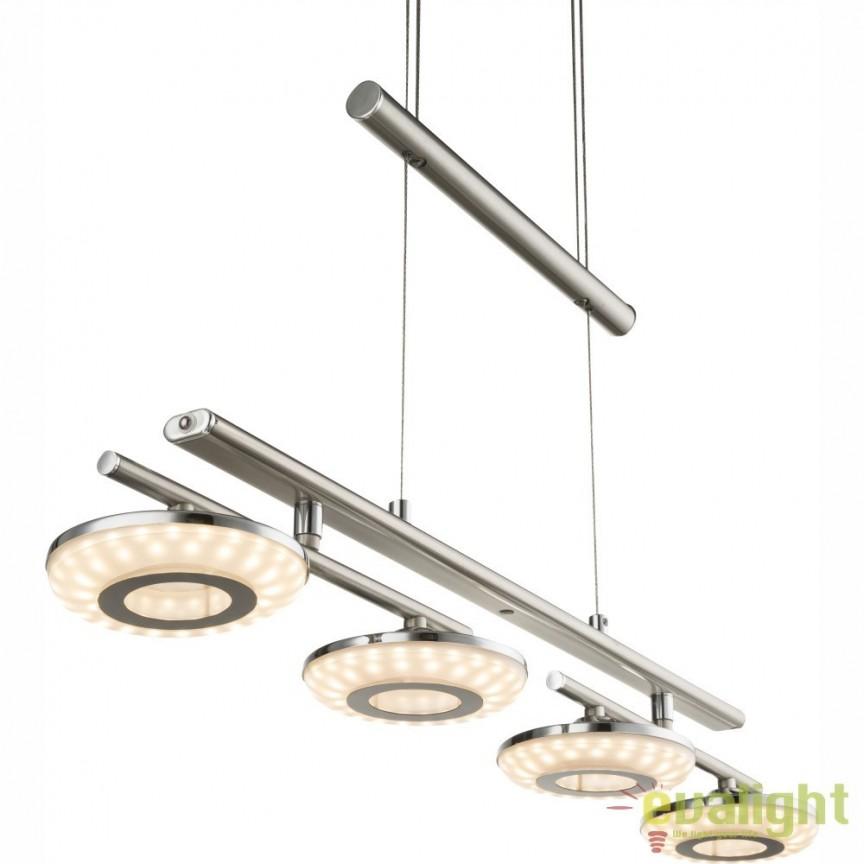 Lustra suspendata LED, inaltime reglabila si 4 spoturi directionabile SUKOM 68165-4 GL, Spoturi - iluminat - cu 4 spoturi, Corpuri de iluminat, lustre, aplice, veioze, lampadare, plafoniere. Mobilier si decoratiuni, oglinzi, scaune, fotolii. Oferte speciale iluminat interior si exterior. Livram in toata tara.  a