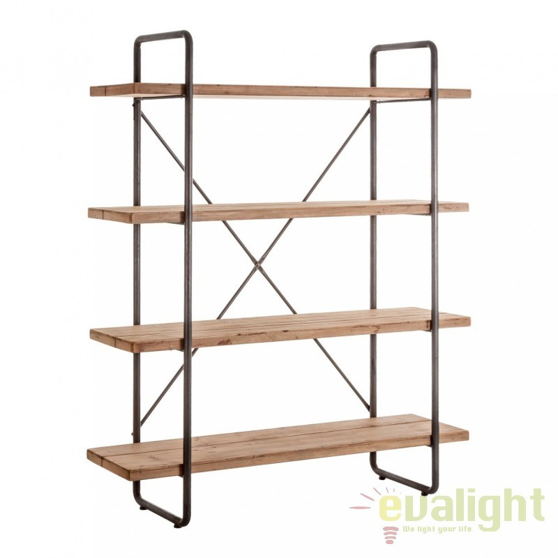 Raft design industrial style din metal si lemn de molid LINZ 21288 VH, Outlet,  a
