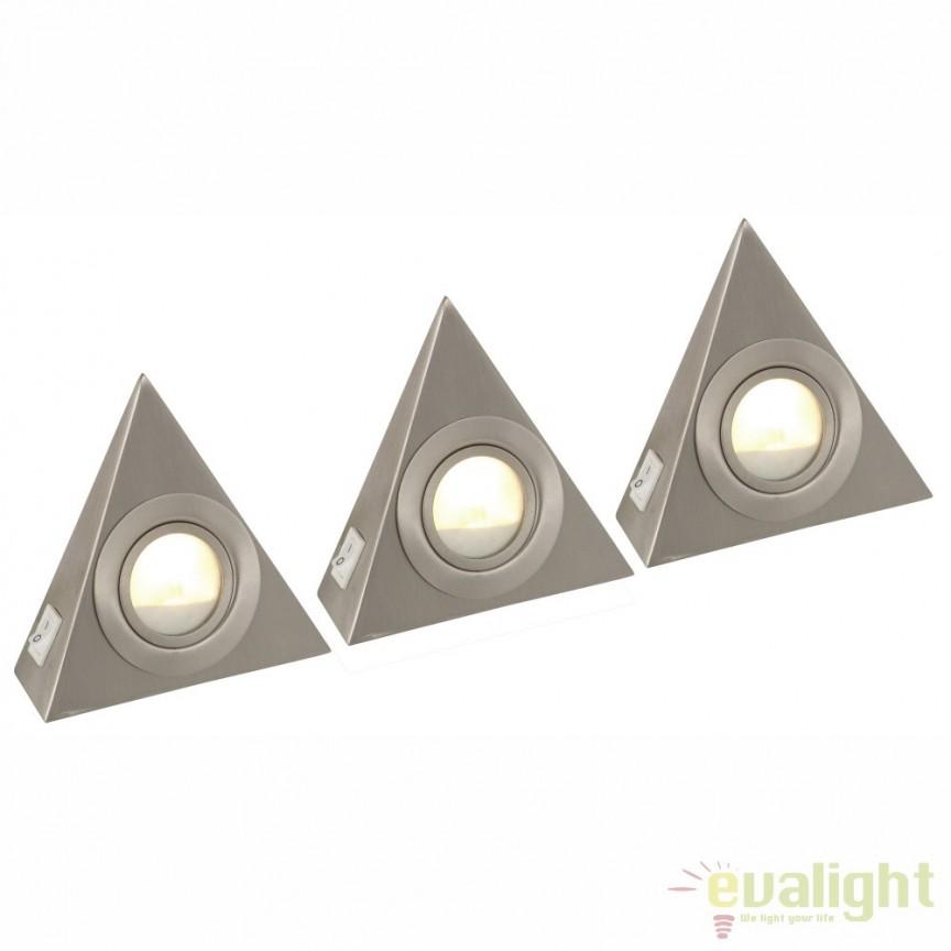 Set de 3 spoturi aplicate cu intrerupator, pentru rafturi sau scafe LED DOWN LIGHTS 1205-3LED GL, Spoturi LED incastrate, aplicate, Corpuri de iluminat, lustre, aplice, veioze, lampadare, plafoniere. Mobilier si decoratiuni, oglinzi, scaune, fotolii. Oferte speciale iluminat interior si exterior. Livram in toata tara.  a