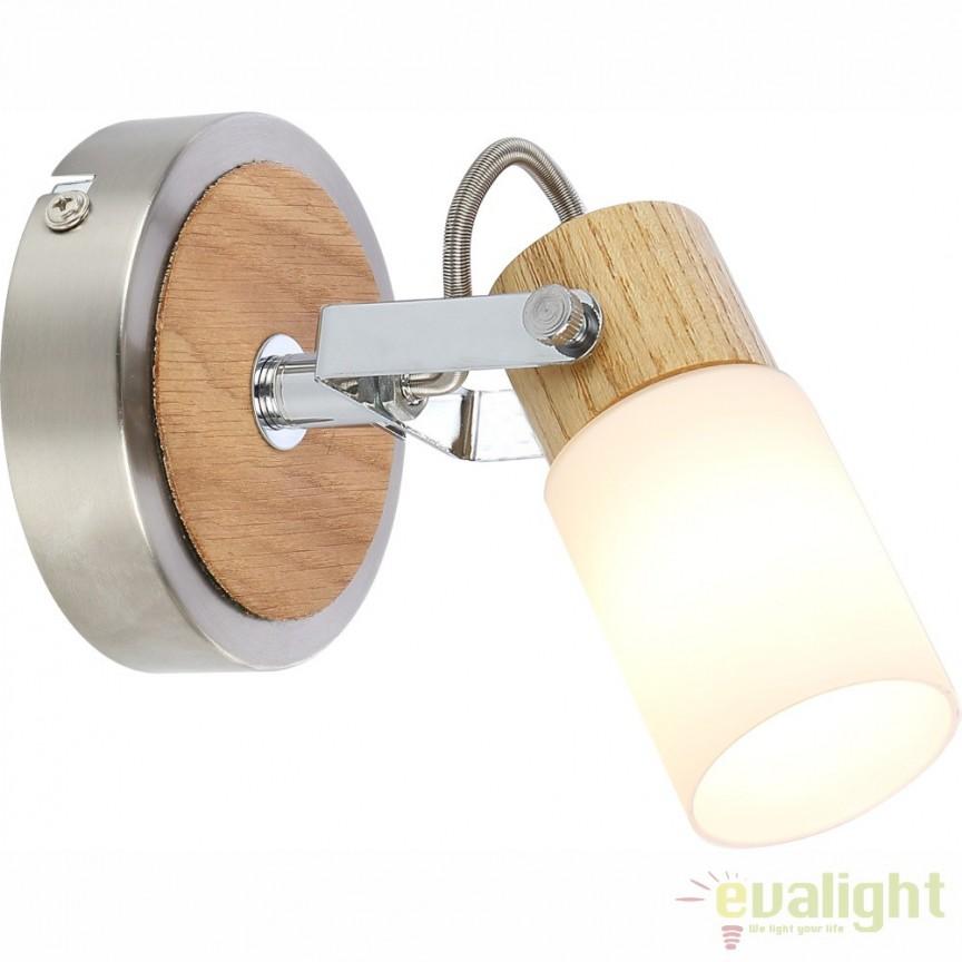 Aplica de perete LED design modern din lemn cu nickel mat LORI 56606-1 GL, Aplice de perete LED, Corpuri de iluminat, lustre, aplice, veioze, lampadare, plafoniere. Mobilier si decoratiuni, oglinzi, scaune, fotolii. Oferte speciale iluminat interior si exterior. Livram in toata tara.  a